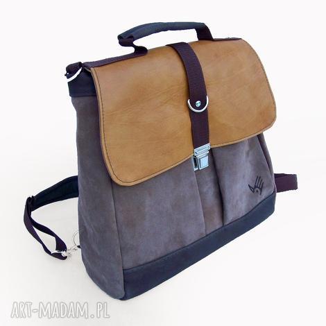 plecak / torba żółty-beżowy-brązowy, zamsz, nubuk, skóra, żółty, brązowy, tornister