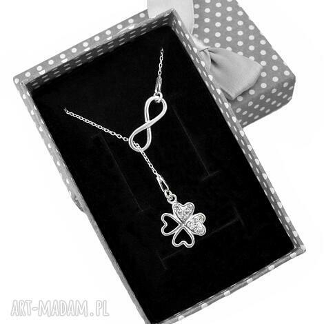 naszyjniki srebrny naszyjnik krawat y nieskończoność koniczyna pudełko