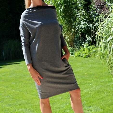 szary mary sukienka dresowa oversize z kieszeniami, sukienka, dresowa