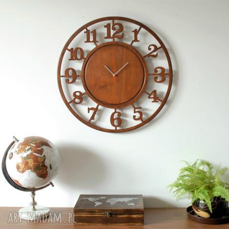 60 cm - drewniany zegar ścienny, bezgłośny, duży, zegar