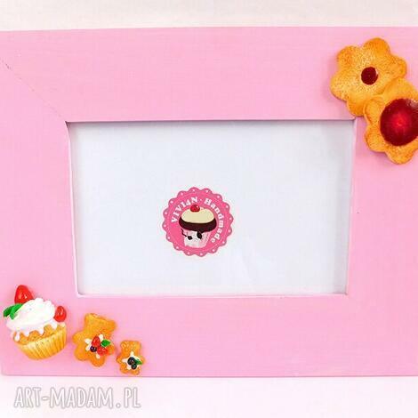 różowa ramka z ciasteczkami, modelina, fimo, słodka