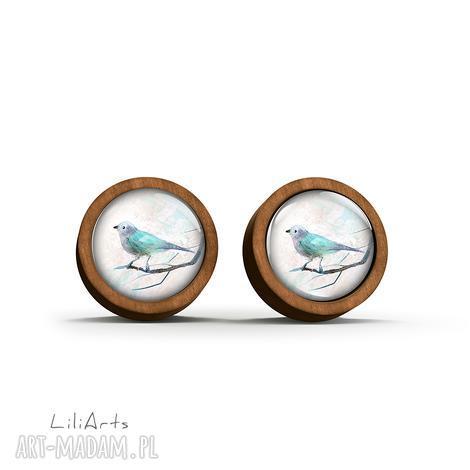 kolczyki drewniane - turkusowy ptaszek sztyfty, kolczyki, drewno