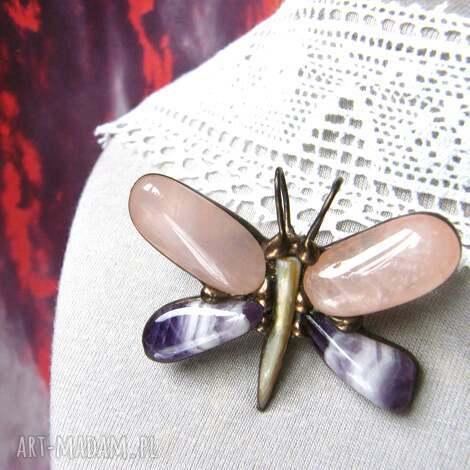 broszka - wisiorek: motyl różowo-fioletowy ametyst broszka, kwarc różowy