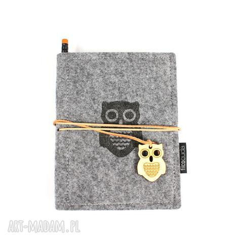 notesy notes filcowy owl, notes, notatnik, filc, organizer, pamiętnik, szkicownik