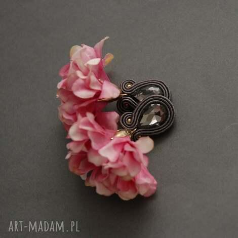 prezent na święta, klipsy sutasz z kwiatkiem, sznurek, wyjściowe, długie