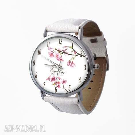 kwiat wiśni - skórzany zegarek z dużą tarczą, zegarek, skóra, prezent, kwiat