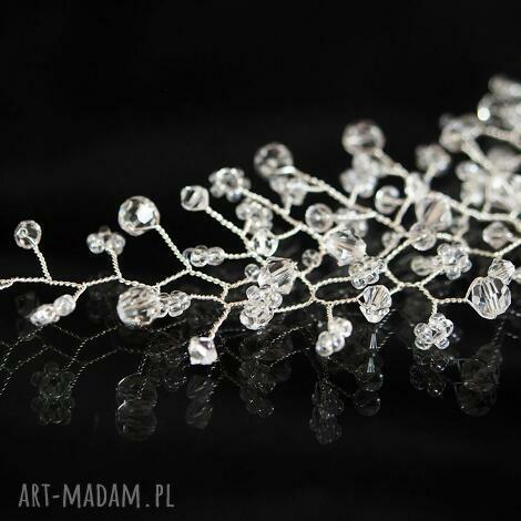 ślubna gałązka 4, swarovski, preciosa, ślub, ozdoba, kryształy, serbrne