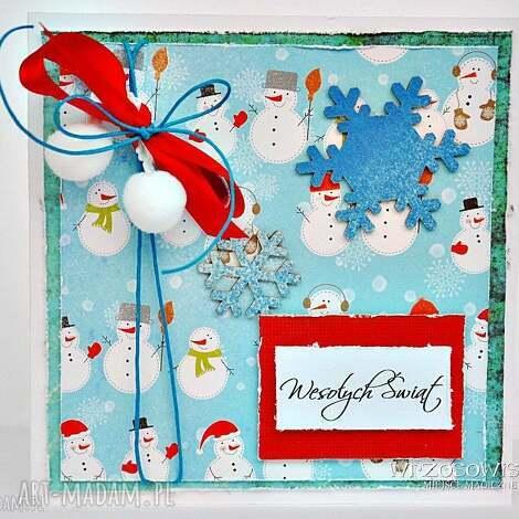 kartka z bałwankami - kartka, święta, życzenia, boże, narodzenie