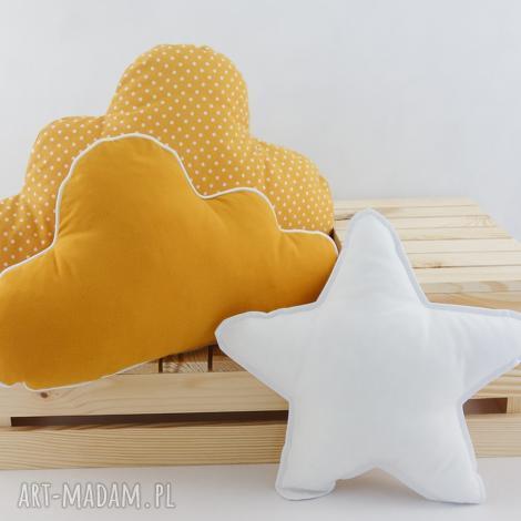 zestaw 3 poduch musztardowy (musztardowa poduszka, poduszka chmurka, gwiazdka)