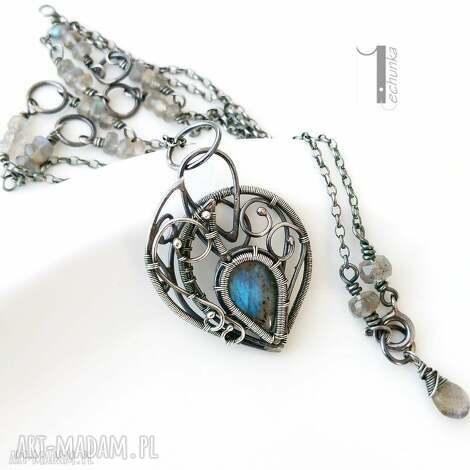 blue bird - srebrny naszyjnik z labradorytami - naszyjnik, labradoryt, srebrny, wire