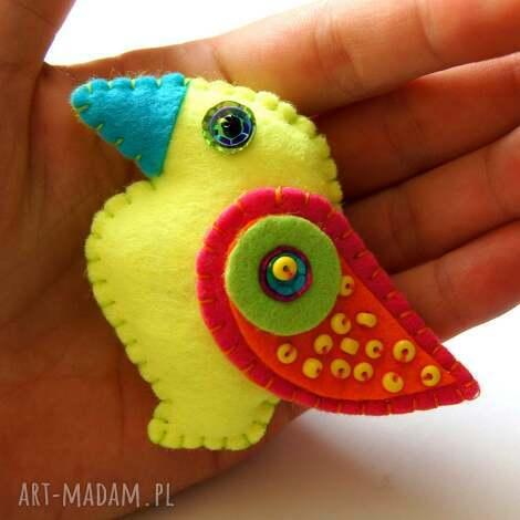 neonowy tukan - broszka z filcu tinyart - ptak, tukan, broszka, biżuteria, prezent