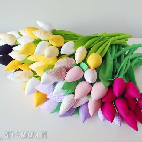 dekoracje tulipany - bukiet 15 bawełnianych kwiatów, tulipany, kwiaty, szyte