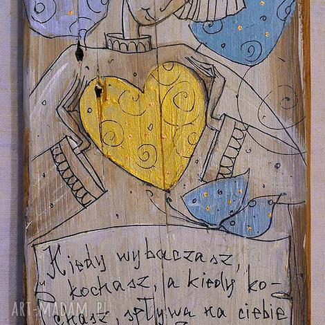 deska ręcznie malowana 5, marinaczajkowska, dom, sedce, miłość, anioł, prezent