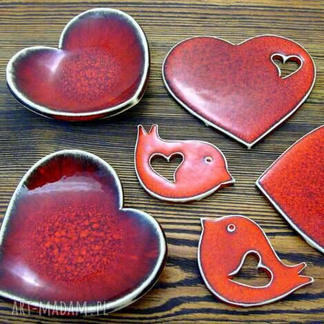 ceramika zestaw dla zakochanych, miseczka, podstawka, podkładka, magnesy, romantyczny