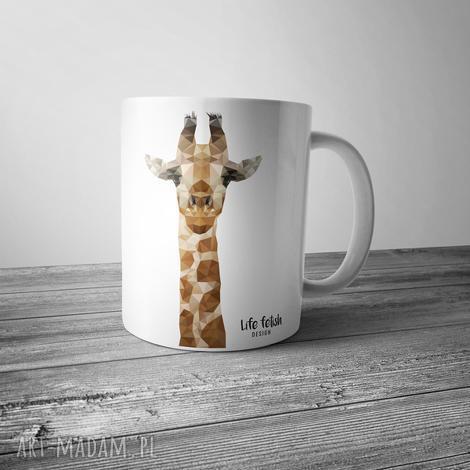 kubek z żyrafą, żyrafa, kubek, zoo, wild, lowpoly, grafika, wyjątkowy prezent