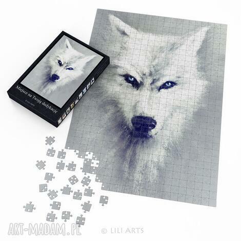 puzzle - biały wilk 60x42 cm 600 elementów, puzzle, układanka, wilk, husky