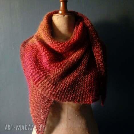 jesienna asymetryczna chusta, szal, nadrutach, naprezent