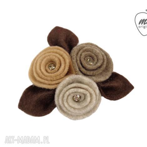 mela broszka filcowa ulio - kwiaty liście - brąz - broszka, filc, kwiaty