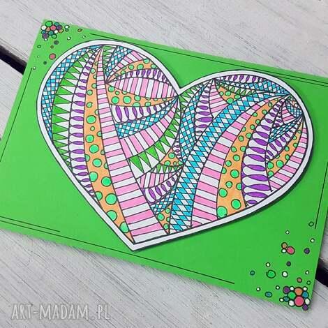 kartki zielona kartka z serduszkiem, kartka, gratulacje, miłość, serce