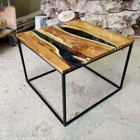 stoły stolik kawowy zalany żywicą 7, akacja, żywica, stolik, połysk, drewno