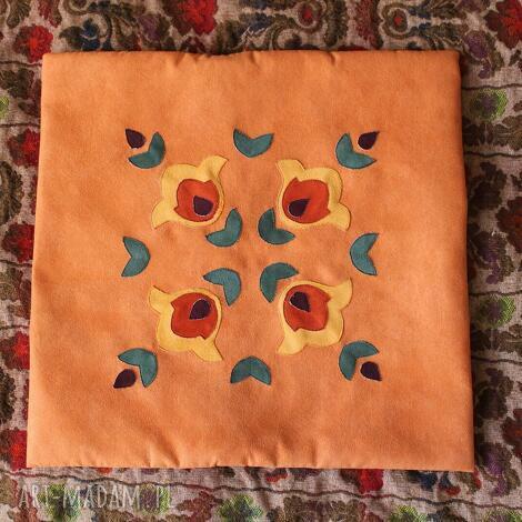 pomarańczowy folk poszewka, folk, etno, ludowa, aplikacja