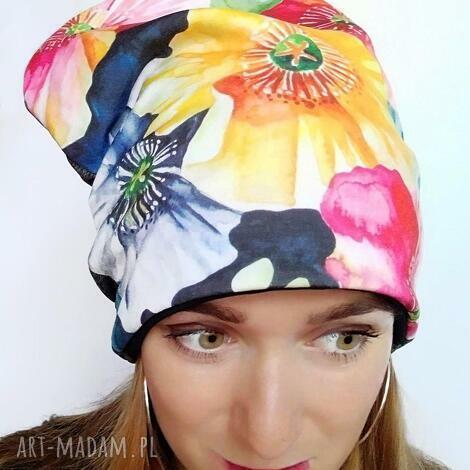 czapka zimowa w kwiaty - kwiaty malowane, czapka ciepła, akwarela, druk na tkaninie