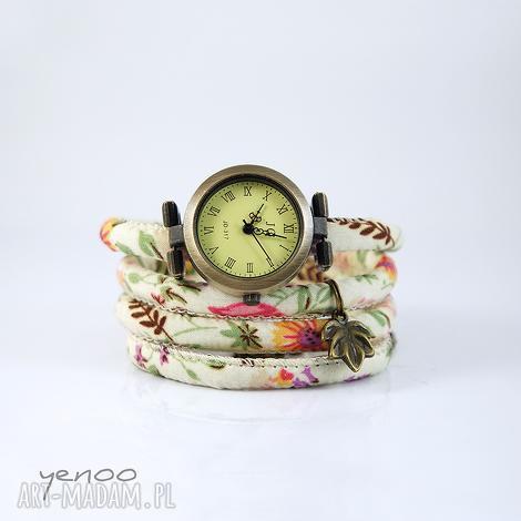 zegarek, bransoletka - kwiaty kremowy, owijany, kwiaty, rzemień