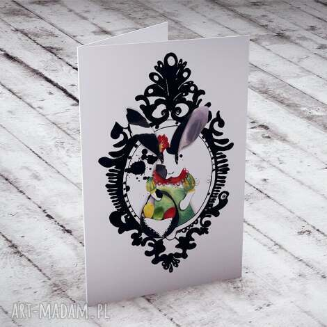 wielkanocna karteczka z portretem zająca, kartki, okolicznościowe, królik