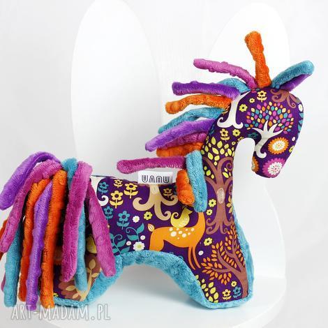 koń turkus fiolet - przytulanka sensoryczna, maskotka zabawka, niemowlę