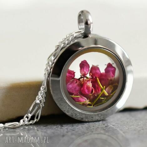 925 mini srebrny łańcuszek wrzos - wrzos, kwiaty, natura, biżuteria, prezent