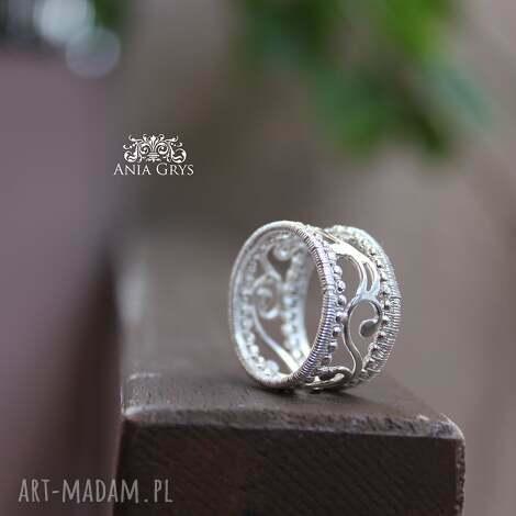 ażur królewski - obrączka, pierścionek, ażurowy, wirewrapping