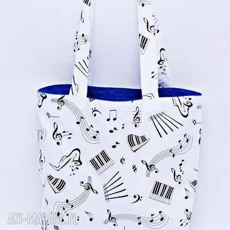 torba muzyczna na zakupy shopperka nuty muzyka instrument niebieska podszewka