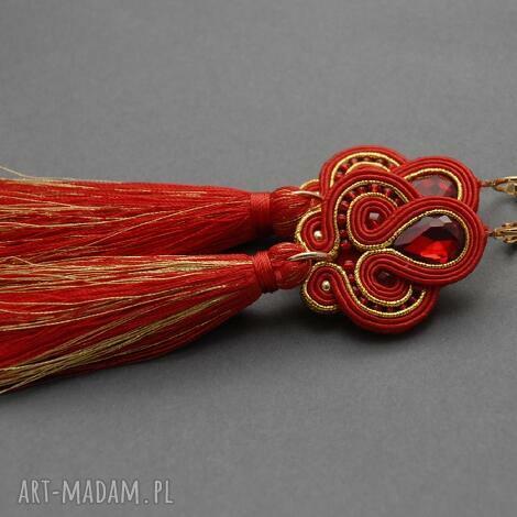 sisu czerwono-złote klipsy sutasz z chwostami, sznurek, wiszące, wieczorowe