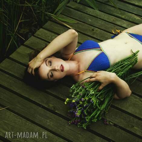 kostium kąpielowy santorini w kolorze niebieskim szydełkowy, strój, kostium, bikini