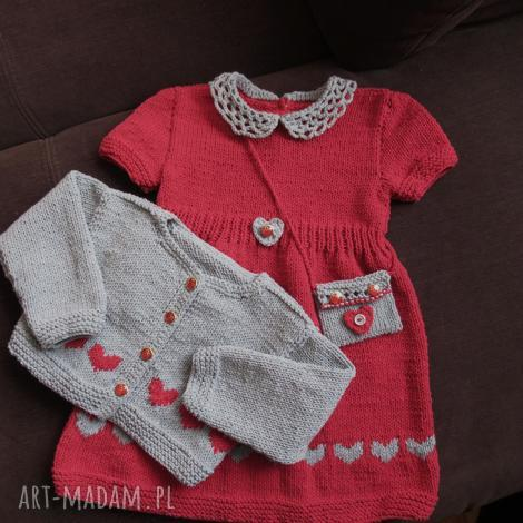 komplet serduszka, rękodzieło, komplet, sukienka, włóczka, sweterek