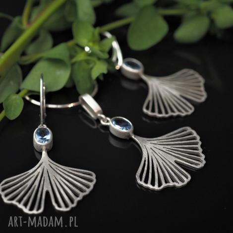 ginkgo - miłorzęby z akwamarynem, komplet biżuterii, kolczyki liście, modna