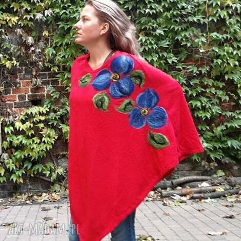 poncho z dzianiny wełnianej czerwone, sweter, płaszcz, wełna