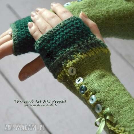 rękawiczki mitenki - rękawiczki, mitenki, zielone, prezent