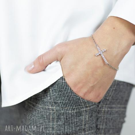 bransoletka srebrna z krzyżykiem swarovski keep the faith nie trać wiary