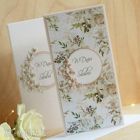kwiecista kartka ślubna ślub, telegram