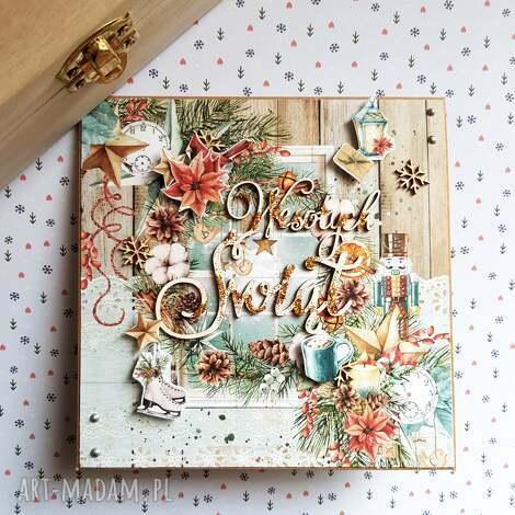 Maly Koziolek: kartka świąteczna- wesołych świąt, święta, kartki scrapbooking