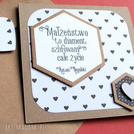 kartka ślubna małżeństwo to diament b w, ślub kartki