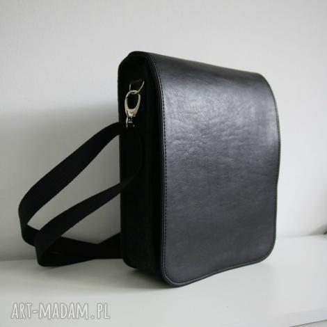 męska torba na ramię z filcu i eko skóry, męska, torba, ramię, skóra, filc