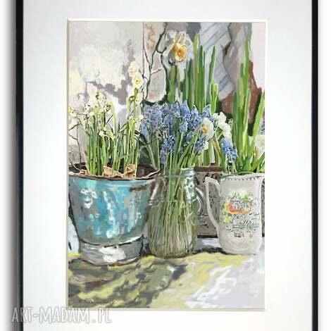 grafika w ramie białe żonkile 30x40, kwiaty, z kwiatami