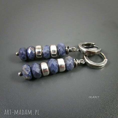 irart kolczyki z szafirów przekładkami, szafiry, srebro biżuteria