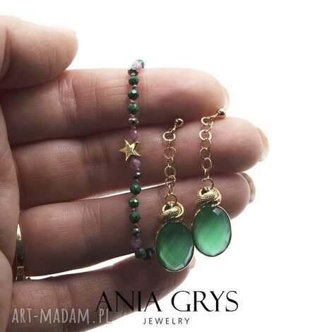 zielone landrynki, bransoletka, onyks, malachit, piryt, rubin, gwiazdka