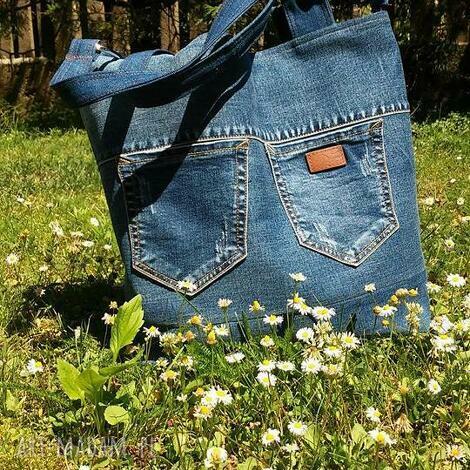 na ramię torba z jeansu kieszonkami, ekotorba, jeans, dżins, torba, recykling