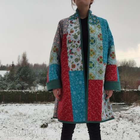 płaszcz patchworkowy w stylu boho, długi, kimonowy- waciak - płaszcz, folk