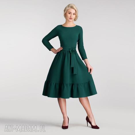 sukienki sukienka olga 3/4 midi zieleń, rozkloszowana, butelkowa, midi, falbana