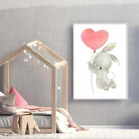króliczek a3 - królik, serce, ilustracja plakat
